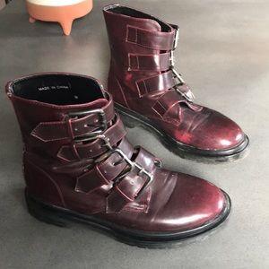 UO Deena & Ozzy Burgundy vegan leather buckle Boot